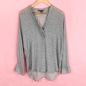 Vince Cable Knit Print Silk Blouse Size Medium